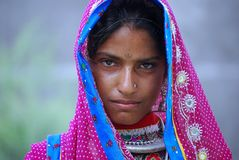 A tribal nomadic girl from Rajasthan Royalty Free Stock Images