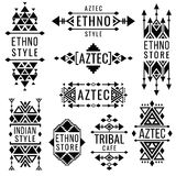 Tribal old mexican vector ornaments, indian nativity traditional logo Royalty Free Stock Photography