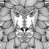 Tribal ornamental lion head Royalty Free Stock Photo