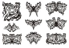 Tribal ornate butterfly wings Stock Image