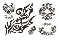Tribal ornate dragon eye and eyes elements Royalty Free Stock Image