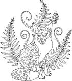 Tribal ornated zentangle fox with forest fern. Artwork fot color. Ing book for adults. Vector illustration Royalty Free Stock Photos