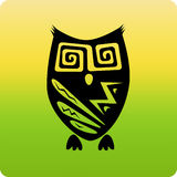 Tribal owl. Funky tribal hinted owl icon vector illustration