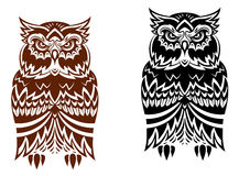 Tribal owl with decorative ornament Stock Image