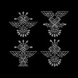 Tribal Owl Symbol. Ornate owl symbol in tribal style. Vintage Decoration Element. Line Art Design. Calligraphic Element. Royalty Free Stock Photography