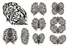 Tribal owl symbols Stock Images
