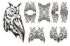 Tribal owl. Tattoo design Stock Photography