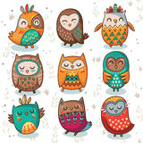Tribal owl vector set. Cute indian hand drawn owl characters  on white background. Vector illustration Royalty Free Stock Images