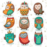 Tribal owl vector set. Cute indian hand drawn owl characters  on white background. Vector illustration Stock Photo