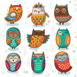 Tribal owl vector set. Cute indian hand drawn owl characters  on white background. Vector illustration Stock Images