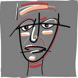Tribal painted face cartoon. Cartoon Doodle Sketch Illustration of Tribal Painted Face Stock Photography
