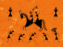 Tribal painting. Tribal warli painting on orange wall Royalty Free Stock Photo