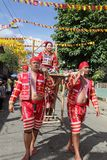 Tribal parade w sedan chair Philippines Stock Photography