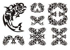 Tribal parrot fish symbols Stock Image