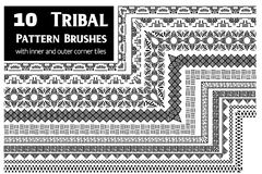 Tribal pattern brushes collection Royalty Free Stock Photo