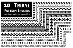 Tribal pattern brushes collection Stock Photo