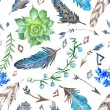 Tribal Pattern with Flowers and Feathers Royalty Free Stock Image