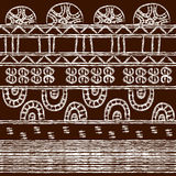 Tribal pattern with motifs of an African tribes Surma and Murs royalty free stock photography