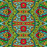 Tribal pattern in red and green colors. Royalty Free Stock Image