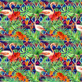 Tribal pattern, tropical leaves, flamingo birds. Repeated ethnic background. Watercolor. Tribal pattern, tropical leaves and flamingo birds. Exotic orchid Royalty Free Stock Images