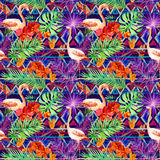 Tribal pattern, tropical leaves, flamingo birds. Repeated ethnic background. Watercolor. Tribal pattern, tropical leaves and flamingo birds. Exotic orchids and Royalty Free Stock Image