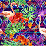 Tribal pattern, tropical leaves, flamingo birds. Repeated native background. Watercolor Royalty Free Stock Photography