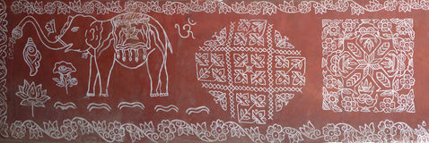 Tribal patterns decorate the walls of houses Stock Photo