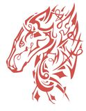Flaming decorative horse head symbol Royalty Free Stock Photos