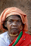 Tribal People in India. March 15, 2011.Bastar, Chhattisgarh,Madhya Pradesh,India,Asia-A portrait of a old tribal woman at the weekly market in Bastar stock image
