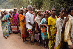 Tribal People in India. July 02, 2011.Bastar, Chhattisgarh,Madhya Pradesh,India,Asia-Tribal people are gathering for kerosene oil collection in the remote royalty free stock photo