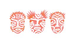 Tree Pink Faces of Tribal People. Watercolor illustration. Tribal people with a paint on their faces. Pink watercolor raster illustration isolated on white stock photography