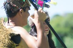Tribal Peruvian Anaconda dance. Tribal couple wearing traditional Peruvian clothing and dancing Anaconda dance, a musical genre typical of Amazon region of Peru Stock Images