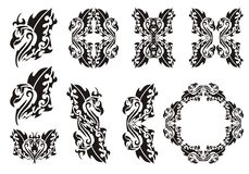 Tribal phoenix set. Black on the white Stock Images