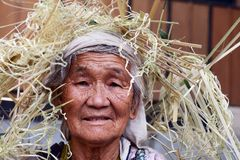 Tribal Portrait. An old woman portrait of the Nishi tribes at arunachal pradesh in India Stock Photo