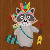 Tribal raccoon on wooden background Royalty Free Stock Photography