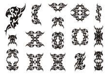 Tribal raven symbols. The stylized double raven symbols and raven frames. Black on white Royalty Free Stock Image