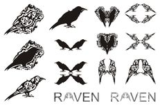 Tribal raven symbols Stock Photos