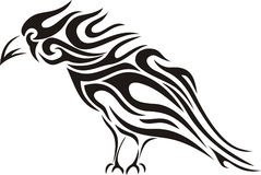 Tribal raven tattoo royalty free stock photography