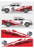 Tribal red and black decal graphics for truck and vehicles stock illustration