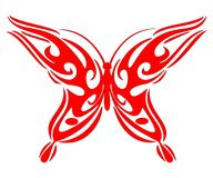 Tribal red bttb. Illustration of a red butterfly Stock Images