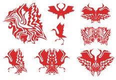 Tribal red stork symbols Royalty Free Stock Photos