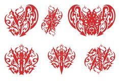Tribal red wolf heart, wolf crown, devil butterfly and other wolf symbols Stock Illustration