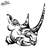 Tribal rhino Stock Photo