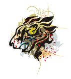 Tribal roaring lion head with splashes and blood drops Royalty Free Stock Photos