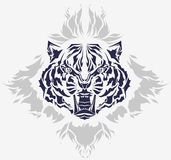 Tribal roaring tiger head and flames. Growling tiger head and flames isolated black silhouette - high quality detailed illustration - great for t-shirt apparel Royalty Free Stock Image