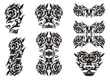 Tribal rose elements in the eagle form Stock Images