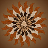 Tribal round  background with bull skull feather arrows and trad Royalty Free Stock Photo