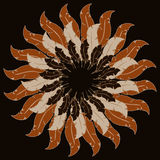 Tribal round background with bull skull feather arrows and tradi Stock Photography