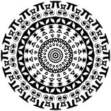 Tribal round ornament with decorative elements Royalty Free Stock Images