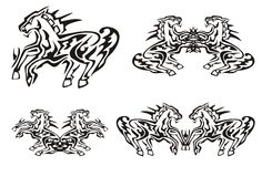 Tribal running horse symbols Royalty Free Stock Photo
